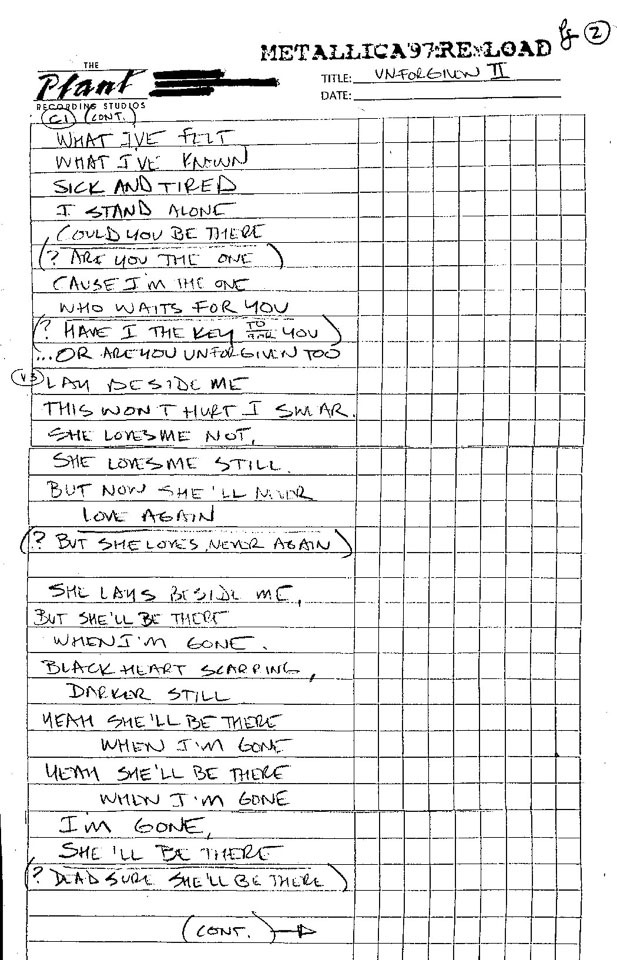 Handwritten Lyrics | Metallica com